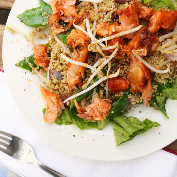 salmon recipes: HOT SMOKED SALMON & QUINOA SALAD